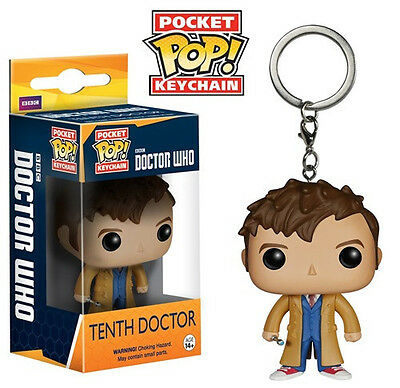Doctor Who Tenth Doctor Figure Pocket Pop! Keychain Key Ring, NEW UNUSED