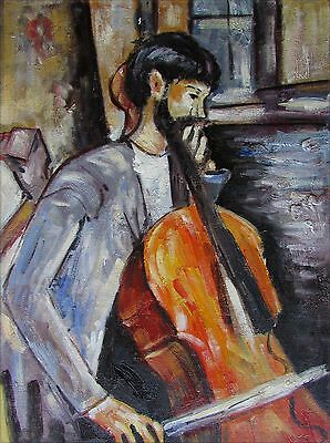 Amedeo Modigliani The Cellist Repro, Quality Hand Painted Oil Painting, 12x16in