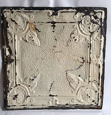 """1890's 24"""" x 24"""" Antique Reclaimed Tin Ceiling Tile Ivory C67 Metal Anniversary"""