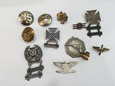 Lot Of 12 Vintage Military Pins Silver Mixed Medals - 3273