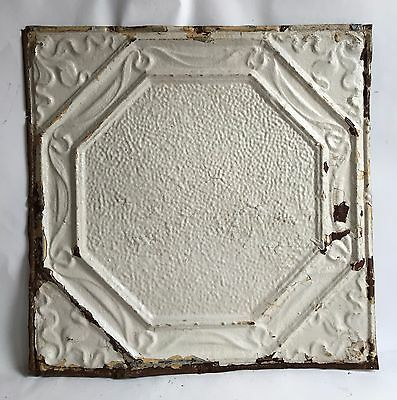 "1890's 24"" x 24"" Antique Reclaimed Tin Ceiling Tile Ivory C69 Metal Anniversary"