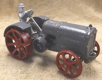 VINTAGE CAST ALLOY McCORMICK DEERING TRACTOR--FARM VEHICLE GREY--ESTATE SALE