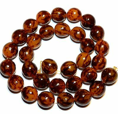 """NG1770f Tiger Gold Buri Nut 10-12mm Hand-Carved Smooth Round Wood Beads 16"""""""