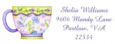 Floral Teacup Address Labels