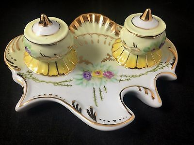 Limoges Copy Victorian Yellow & White Double Inkwell Porcelain Hand Painting