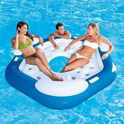 "BESTWAY X3 INFLATABLE ISLAND SWIMMING POOL LOUNGER 3 PERSON SEATER FLOAT 75""x70"""