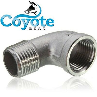 "1/8"" NPT Male x Female Street 90 Degree Elbow 304 Stainless Steel Fitting"