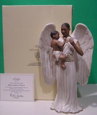 LENOX NAKIA ANGEL OF FAITH African American sculpture NEW in BOX with COA