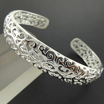 A220 Genuine Real 925 Sterling Silver S/f Solid Retro Style Cuff Bangle Bracelet