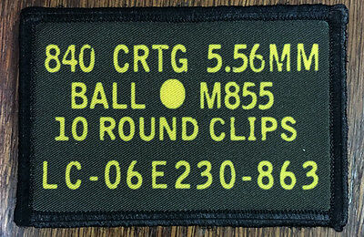 556 Cal Ammo Can Morale Patch Tactical Military Army Badge Hook Flag USA AR15