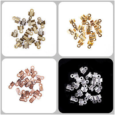 500pcs 6/9mm Fold Over End Cord Caps Crimp Bead Findings Jewelry DIY