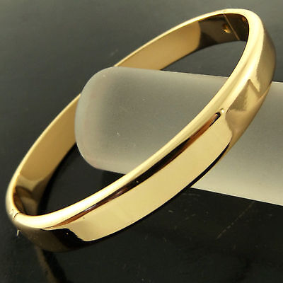 A252 Genuine Real 18K Yellow G/f Gold Solid Ladies Hinged Cuff Bangle Bracelet