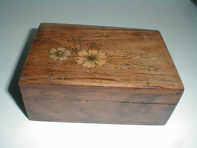 Hand Crafted Brown Wood Playing Card-Cigarette-Floral Inlay Trinket Box-Antique