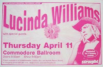Lucinda Williams Vancouver Concert Poster