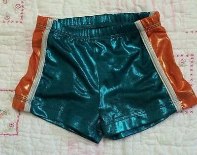 GK Elite sz AS teal/orange foil gymnastics cheer dance shorts Adult Small Miami?