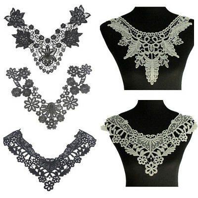 Flower Off-White/Black Embroidery Collar Neckline Lace Trim Sewing Applique DIY
