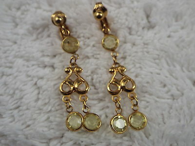Yellow Faux Crystal Bead Goldtone Clip-on Earrings (D77)