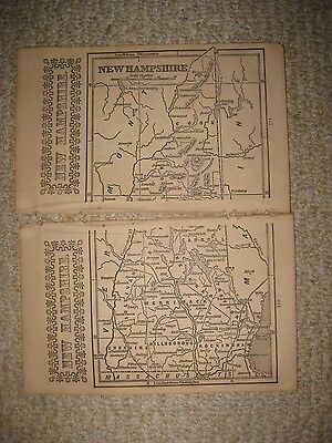 Rare Early Antique 1851 New Hampshire Map White Mountains Manchester Concord Nr