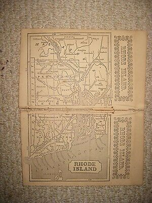 Rare Early Antique 1851 Rhode Island Map Detailed Newport Providence Superb