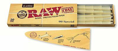 RAW Classic Natural Unrefined Pre Rolled Cones - 20 Cones Per Pack - 98 Special