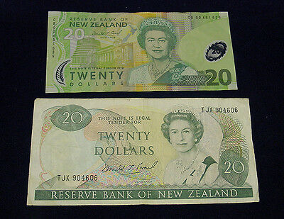 New Zealand $20 notes, paper and polymer types, circulated.