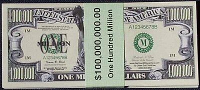 Set of 100 Million Dollar Bills, New, Free Shipping