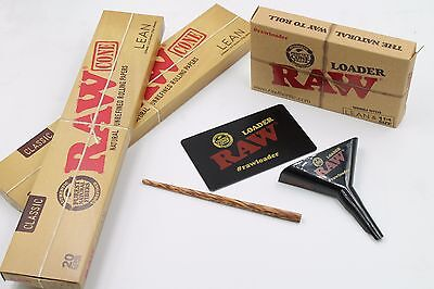 Raw Pre rolled Classic Lean Cones 2 boxes of 20 cones with Raw Lean Cone Loader