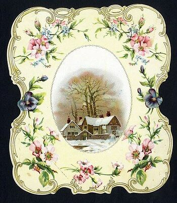 Larger VICTORIAN CARD 1890's - Die Cut Border with Flowers and Snow Scene