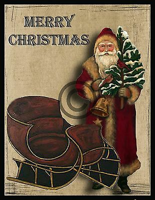 Primitive Santa and Sleigh Print   PT2     8x10