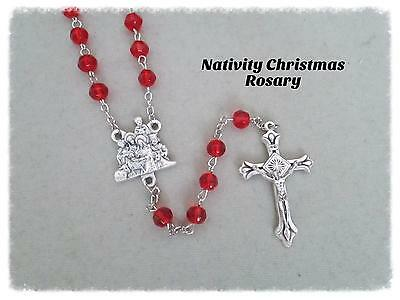 Christmas NATIVITY Centerpiece Rosary RED Italian Rosaries & Pouch NEW