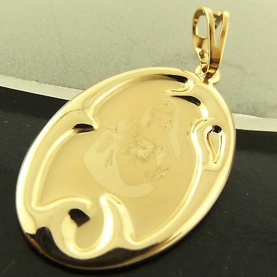 A296 Genuine Real 18Ct Yellow G/f Gold Ladies Christian Mary Madonna Pendant