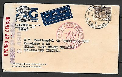 Australia covers 1941 cens Airmailcover to Medan