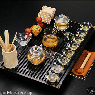 Glass tea set solid wood tea tray chinese kung fu tea set lot pot cups pitcher