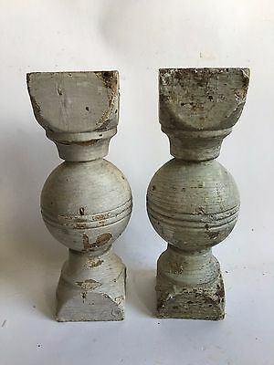 Two(2) RECLAIMED Wood SHABBY Candle Stands Crusty Gray Balusters Vintage Z4