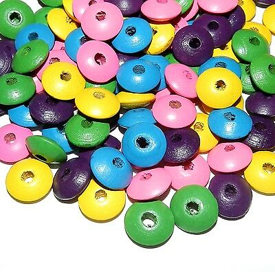 WL359f Multicolor Pink Yellow Green Purple Blue 14mm Rondelle Wood Bead 90gm