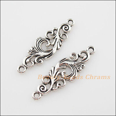 8Pcs Tibetan Silver Tone Clouds Flower Charms Pendants Connectors 11x35mm