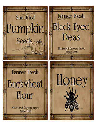 Primitive Farmhouse Pantry Labels -  Our Designs     #518