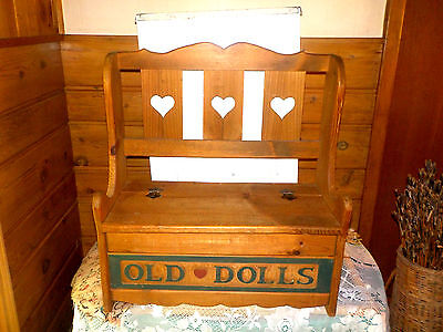 """VINTAGE WOOD TOY CHEST and BENCH   """"OLD DOLLS""""  display cupboard,  Cute w/hearts"""