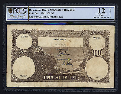 ROMANIA (P050a) 100 Lei 1942 PCGS 12 F Not listed date in WPMC