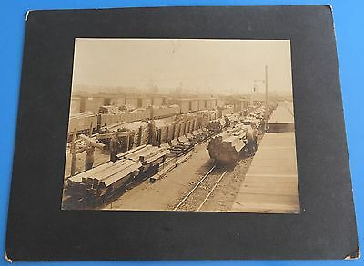 "*Original* LUMBER YARD Large Cabinet Photo TRAIN CARS ON TRACK 11"" x 14"""