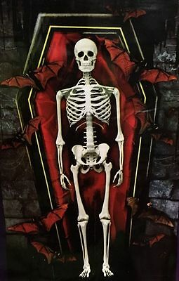 42x72 BATS In CRYPT w/VAMPIRE SKELETON COFFIN Theme Party Wall Decoration SEALED