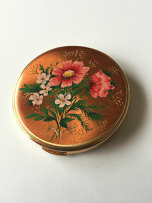 Vintage Flower Compact Powder Case Made England - Free Postage