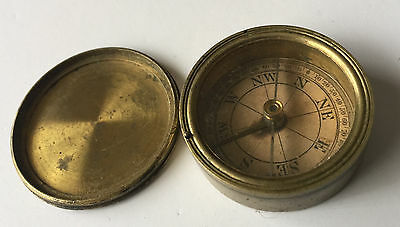 Small Vintage Brass Twist Top Compass - Free Postage