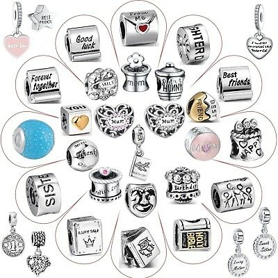 Letter Word Bead Fashion Charms For Woman 3mm 925 Sterling Silver Bracelet Chain