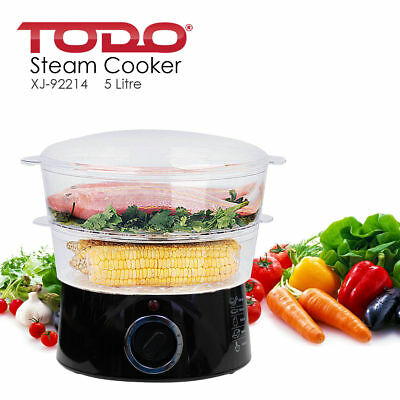 5L Steam Cooker Steamer 2 Tray 400W Power Dial Timer Healthy Stackable
