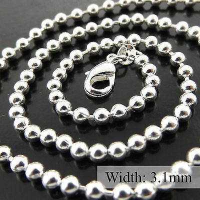 332 Genuine Real 925 Sterling Silver S/f Ladies Bead Ball Pendant Necklace Chain