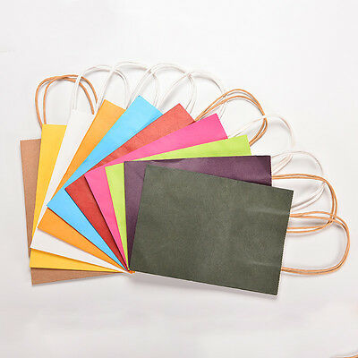 5x Party Paper Carrier Bags with Twisted Paper Handles Gift Favor bag 21*15*8 SK
