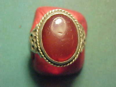 Near Eastern  hand crafted solid silver ring Carnelian stone  1700-1900
