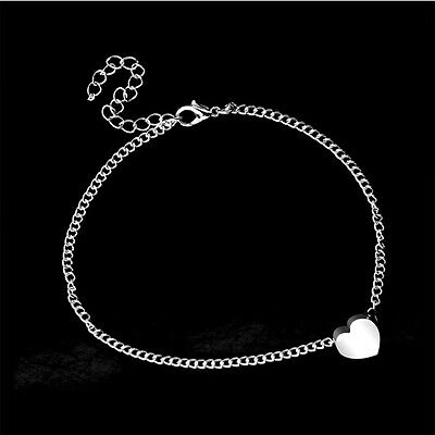 Fashion Silver Love Foot Chain Dangle Anklet Beach Simple Ankle Jewellery UK