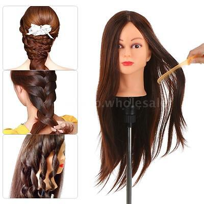 "24"" 30% Real Human Hair Dummy Head Hairdressing Training Head Practice Tool J0A8"